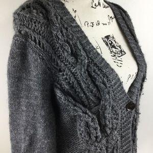 J. CREW Grey V Neck Handknit Wool Deep Cardigan